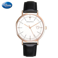 DISNEY 2018 New Casual Quartz Watch Women Leather Water Resistant Dress Ladies Watch Black Mickey Mouse Clock Women