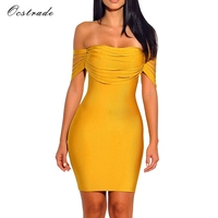 Ocstrade Vestido Rayon Bandage Dresses 2017 New Arrivals Summer High Quality Yellow Fringe Sexy Off Shoulder