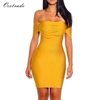 Ocstrade Vestido Rayon Bandage Dresses 2018 New Arrivals Summer High Quality Yellow Fringe Sexy Off Shoulder