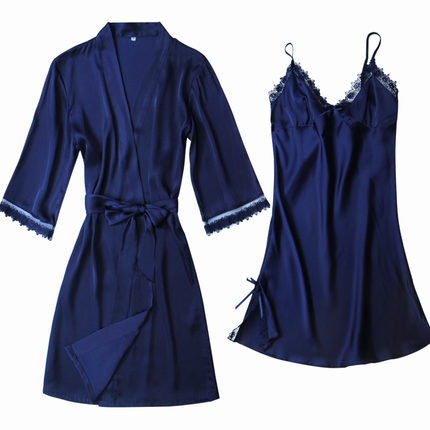 New Arrival Ladies Sexy Silk Satin Robe Gown Set Lace Bath Robe Set Autumn Sleepwear Set Fashion Bathrobe&Nightdress For Women