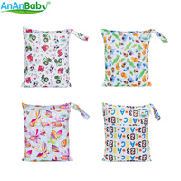AnAnBaby Mummy Baby Bag Reusable Prints Large Dry Wet Bag Cloth Diaper With Zippered Pockets 26 Partners Size 30*36cm