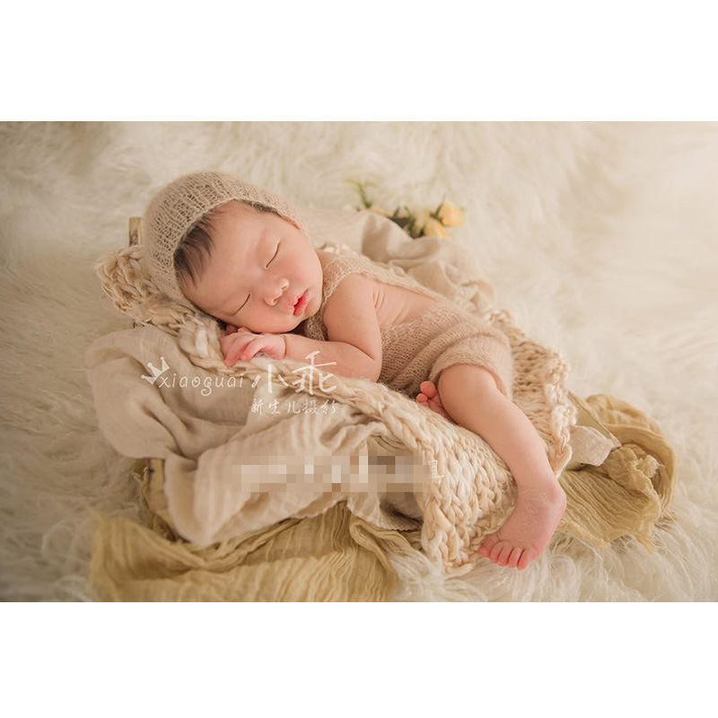 Baby romper newborn fotografia mohair hat bonnet and pant set photo props hand knitted soft mohair newborn photography props