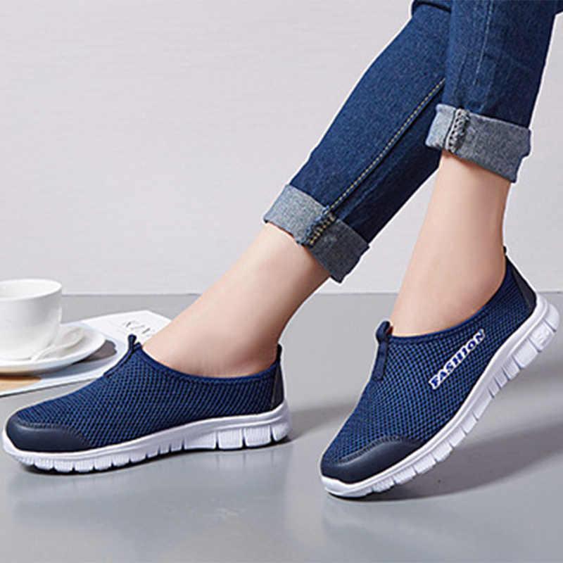 Dropshipping. exclusivo. Las mujeres zapatillas de deporte de malla zapatos de mocasines planos damas de fondo suave comodidad transpirable caminando mujer MODA CALZADO Casual