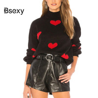 Women Red Heart Pattern Sweater 2019 New Fashion Turtleneck Short Sweater High Neck PUllovers Black sueter mujer streetwear
