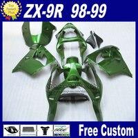 Free custom motorcycle fairings for Kawasaki glossy green fairings1998 1999 ZX9R Ninja zx9r 98 99 ABS plastic bodykit+7Gifts