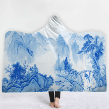 WAZIR 3D digital printing Blue and white hooded blanket cloak home cobertor children thick throw deken