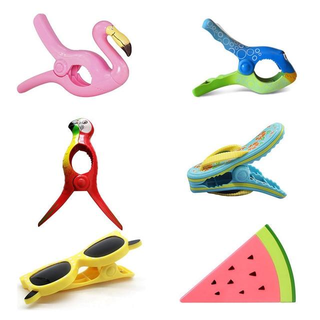 Stronging 플라스틱 컬러 클립 동물 유형 비치 타월 클램프 바람 클램프 옷을 방지하기 위해 Pegs 건조 랙 유지 클립
