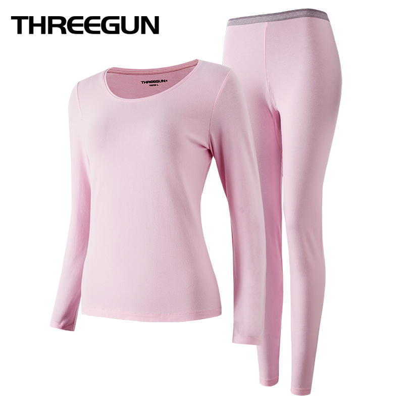 THREEGUN 2019 Winter New Long Johns Underwear Thermal Long Sleeves Keep Warm Round Neck Women Winter Clothes Seamless Thermo Set