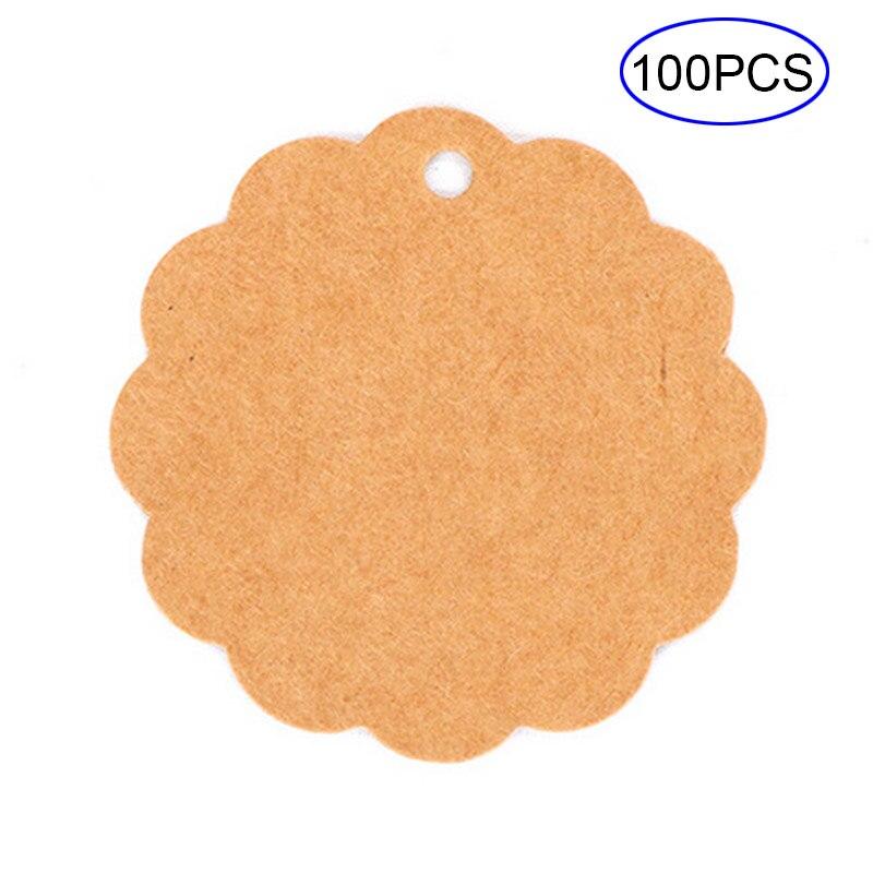 100 Pcs/Set Blank Price Hang Tag DIY Lace Label Card Gift Wedding Note Luggage Kraft Paper Tags HG99