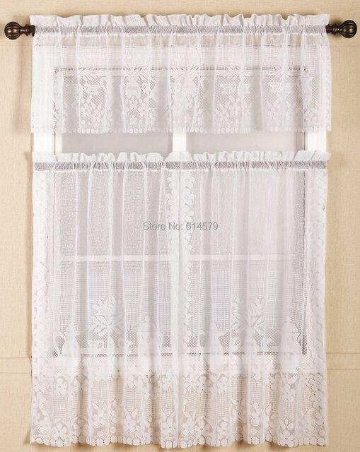 3 Pcs Lace Kitchen Curtains New Style Flat Valance 76x91cmx2pcs+152x35cm Lace  Curtains For Sale