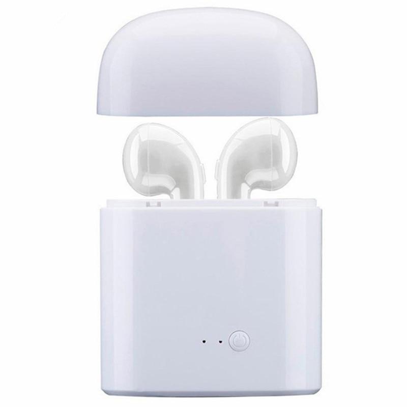 Mini Bluetooth Earphone i7 TWS Wireless Earbuds Portable Headphone Phone Earphone with Mic For iOS Android phone + Charger Case bluetooth earphone earbuds with car charger 2 in 1 driver mini wireless bluetooth headset earphone for iphone android smartphone