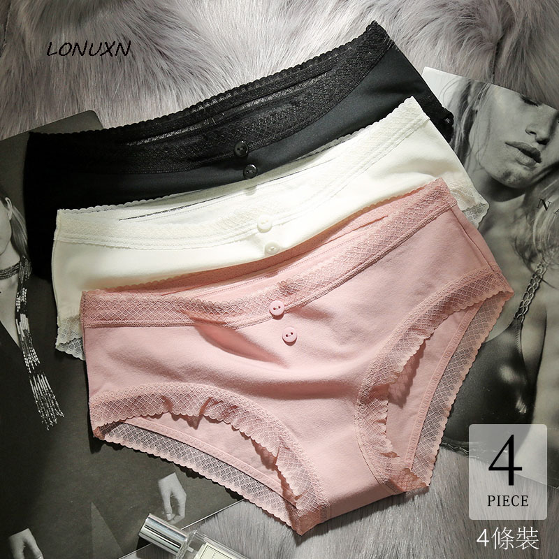 high quality 100% cotton Solid color Women's underwear Sexy Comfortable Lace Button No trace girls Mid Rise Briefs 4 pieces