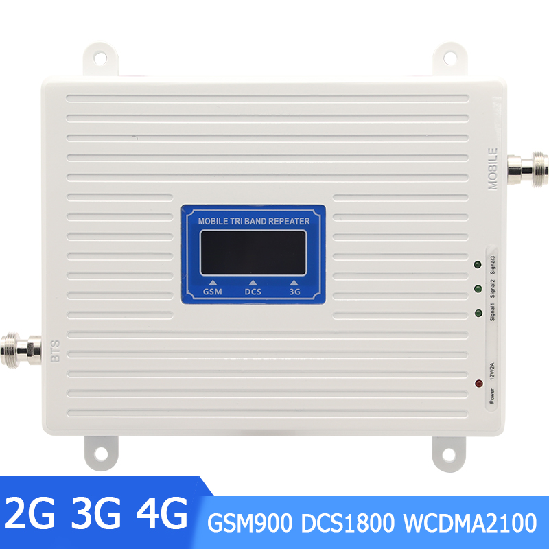 2G 3G 4G Tri Band Cellular Signal Booster GSM 900 4G DCS/LTE 1800 3G WCDMA 2100mhz Cell Phone Signal Amplifier 70dB Repeater -