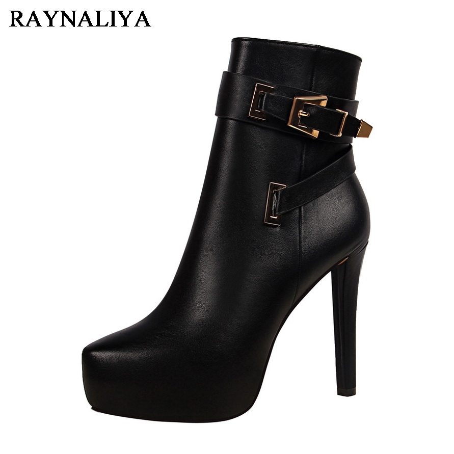 Winter Women Concise Leisure Buckle Strap Zip Metal Decoration Shoes Woman Thin Heels Fashion Mid Calf Boots DS-B0060 concise women s mid calf boots with buckle and fold over design