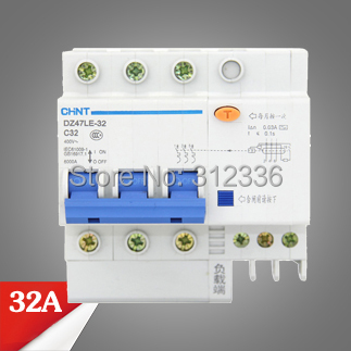 цена на Free Shipping Two years Warranty DZ47LE-32 C32 3P 32A 3 pole ELCB RCD earth leakage circuit breaker residual current