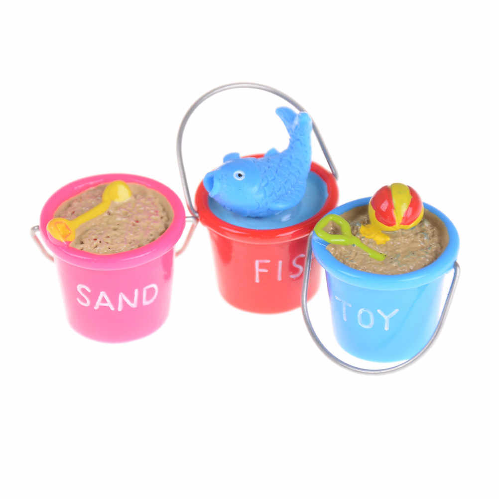 Mini Sand Beach Buckets Ornaments Dollhouse Miniature DIY 3 Styles Model Toys Scene Accessories Randomly 1:12 Dollhouse