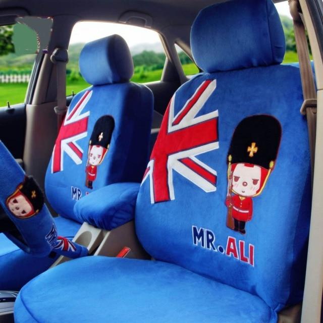 Mr ALI Universal Car Seat Covers 10pcs Light Blue Automotive Cartoon Neck