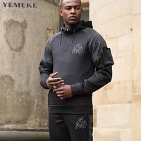 YEMEKE New 2017 Plain Mens Zip Up Hoody Jacket Sweatshirt Hooded Zipper Male Top Outerwear Black