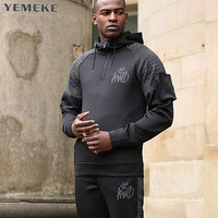 YEMEKE New 2017 Plain Mens Zip Up Hoody Jacket Sweatshirt Hooded Zipper Male Top Outerwear Black
