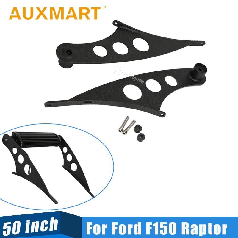 цена на Auxmart 50 inch Straight Light Bar Roof Mounts Light Mounting Bracket For Ford F150 Raptor 2009 2010 2011 2012 2013 2014