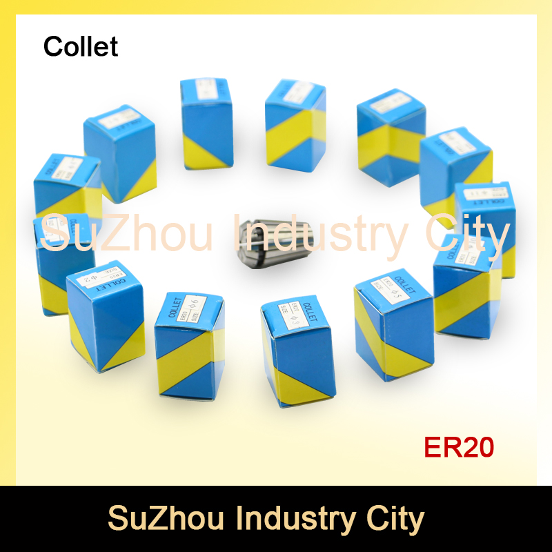 ER20 spindle motor collet chuck 14 pcs collets size  from 1 mm to 13mm full set for CNC milling lathe tool  spindle motor collet fitsain er11 collet chuck cnc spindle collet set from 1 8 1 4 for cnc milling lather tool ball bearing 775 24v 8000rpm