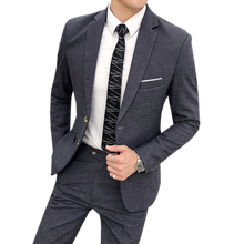 2019 explosion models twill suit  mens wedding two-piece (coat + trousers) slim high-quality boutique