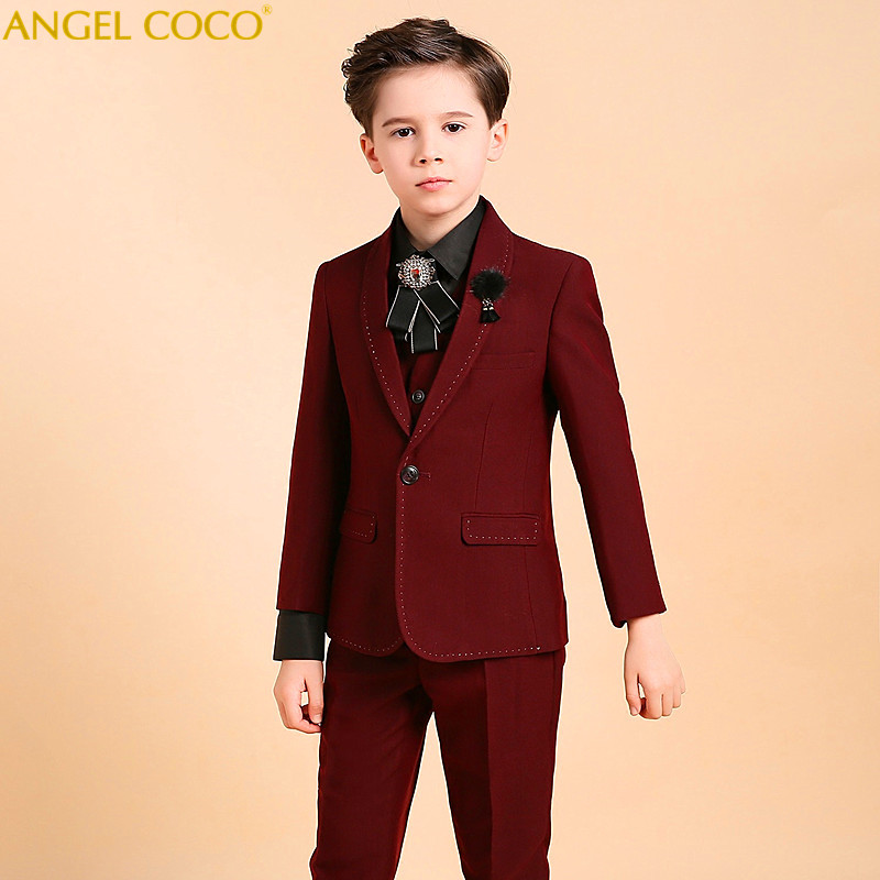 Boys Suits For Weddings Kids Prom Suits Burgundy Wedding Suits For Boys Tuxedo Children Clothing Set Boy Formal Costume Garcon page boy suits kids wedding suits navy blue wedding tuxedo for children prom suit for 2 15 years