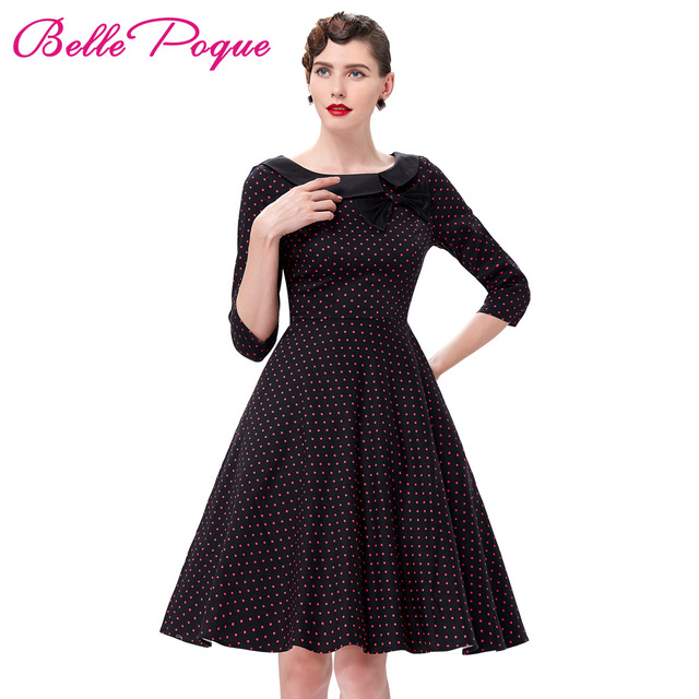 2018 Tonval Women Retro Polka Dot 50s Vintage Swing Dress vestido Elegant  Tunic 2 3 Sleeve Ladies Formal work wear Party Dresses 5d98448ef656