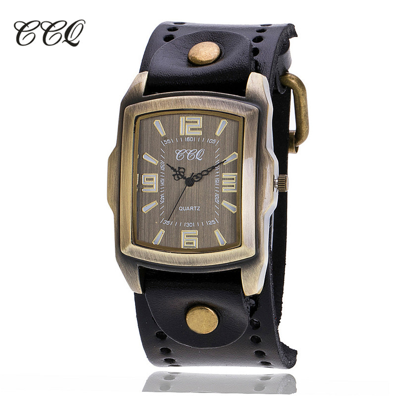 CCQ Brand Vintage Cow Leather Bracelet Men WristWatch Casual Luxury Roman Number Quartz Watch Relogio Masculino