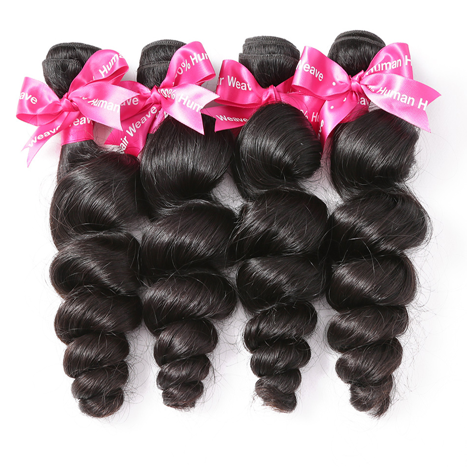 Luvin Brazilian Loose Wave Virgin Hair Weft 4Pcs Lot 100 Unprocessed Human Hair Weave Bundles Soft