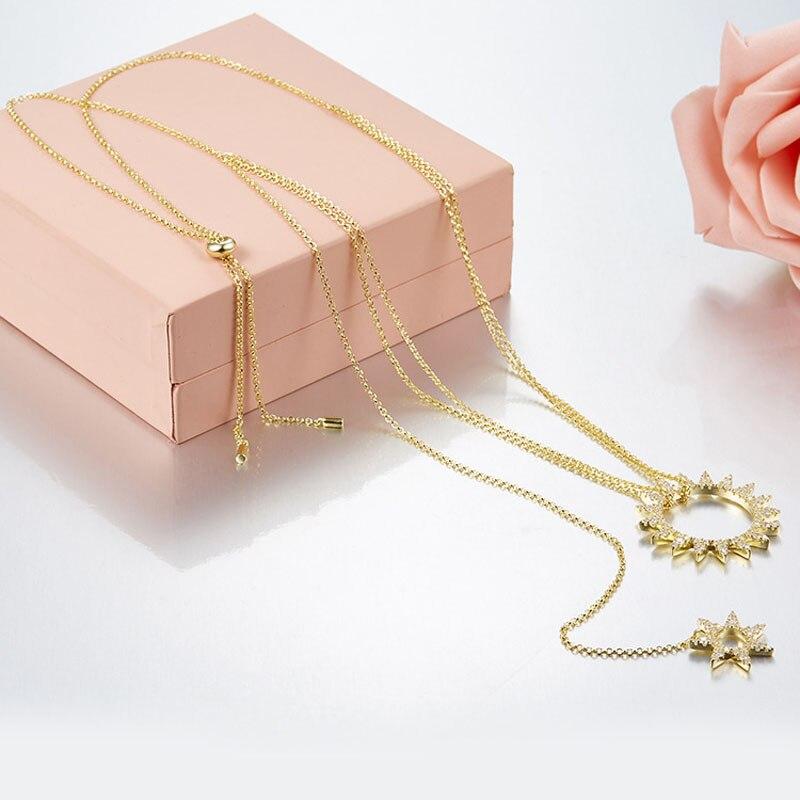 SLJELY Fashion Luxury 925 Sterling Silver 3 Gold Colors Zircon Gear Sun Geometric Pendant Necklace Women