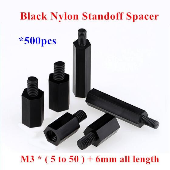 100pcs M3 Black Nylon Standoff M3 5 6 8 10 12 15 18 20 25: 500pcs M3*5/6/8/10/12/14/15/18/20/25/30/35+6mm Black Nylon