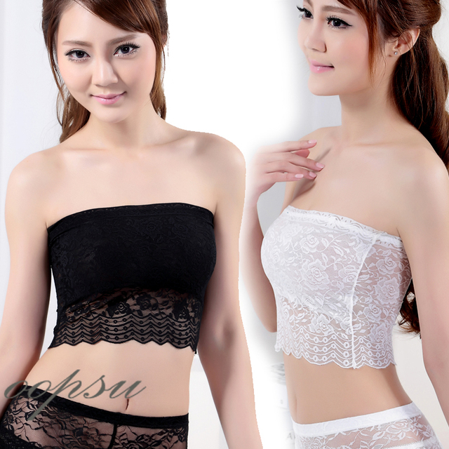 fe4a2c67ea32 Womens Girl Lady Tank Top Camisole Tube Lace Strap Strapless Hollow Crochet  Crop Chest Bra Sexy Inner Wear B005