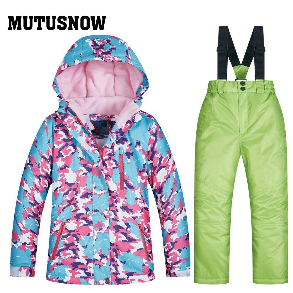 MUTUSNOW 2019 combinaison de Ski fille imperméable coupe-vent Ski Snowboard Bid chaud thermique enfant à capuche petits enfants vêtements Costume ensemble - 3