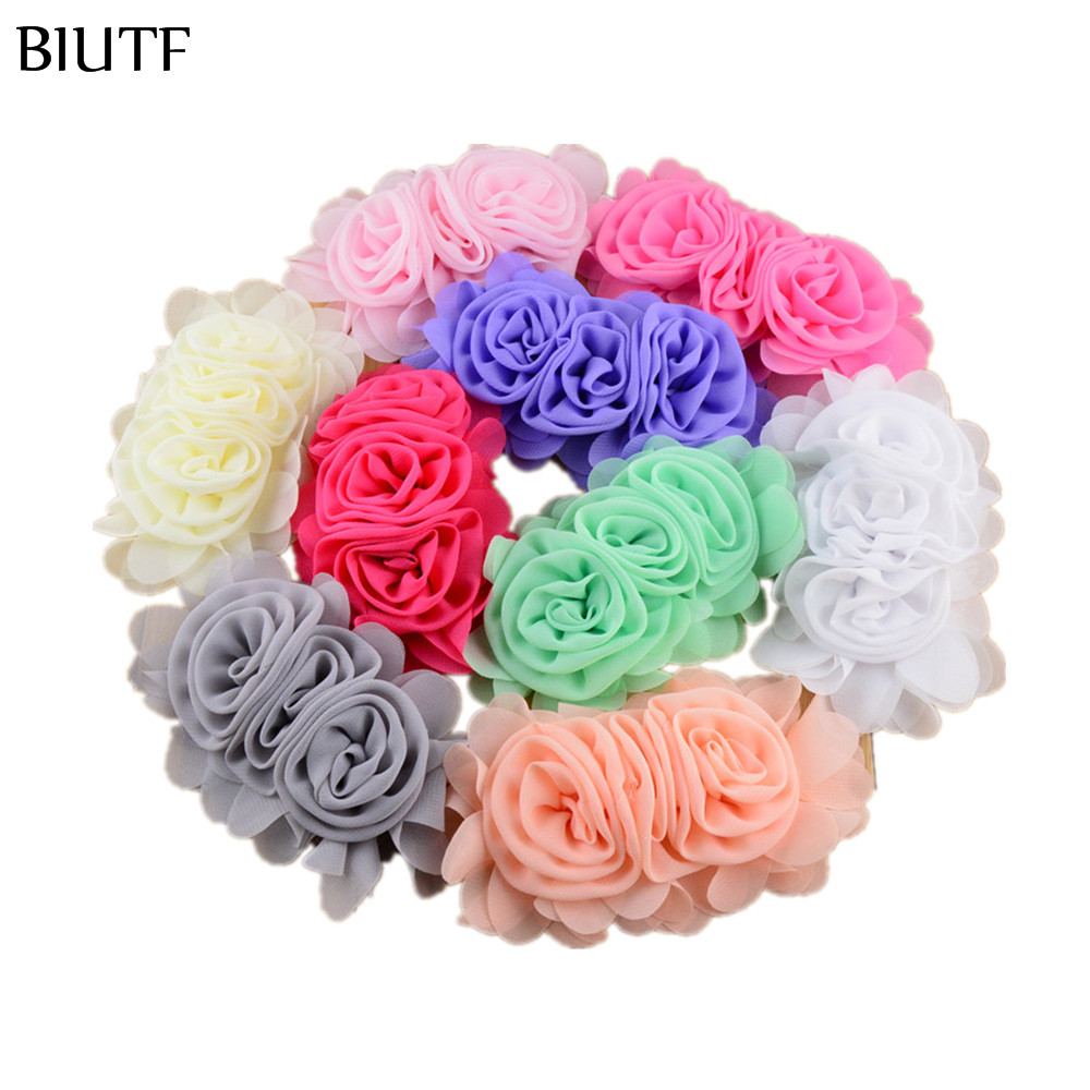 BIUTF 100pcslot DIY Chiffon Flower Headband Decoration