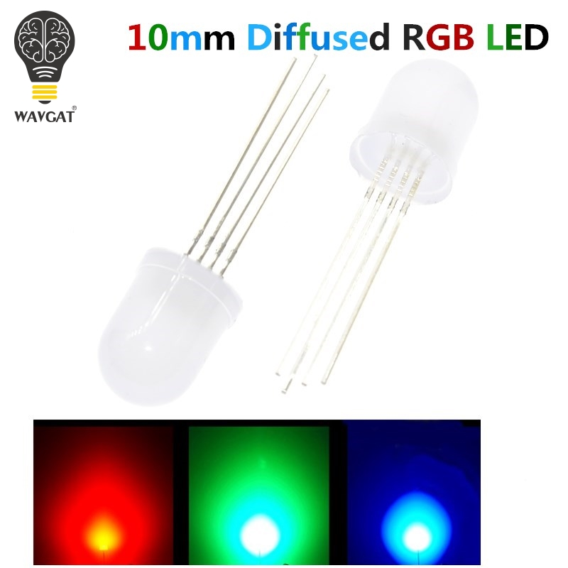 20PCS 10mm Full colors Diffused RGB LED Common Cathode 20mA 3 Colors Red Green Blue 4 Pin 10 mm Light-Emitting Diode LED Lamp