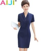 Summer Women OL Fashion Elegant Short Sleeve One Piece Dress Woman S V Neck Work Wear