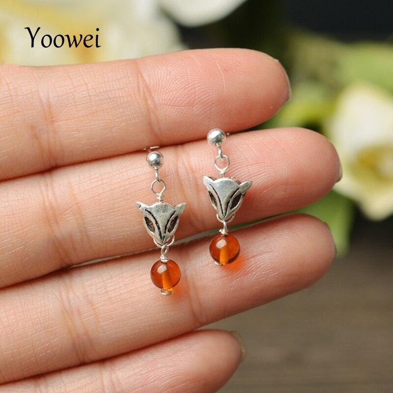 Yoowei nouvelles boucles d'oreilles ambre pour femmes Animal mignon renard boucles d'oreilles naturel 5mm ambre Vintage S925 argent bijoux cadeau en gros