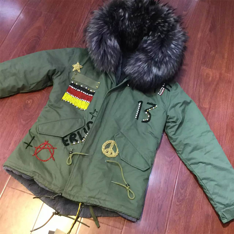 Fashion Flag of Germany Beading grey faux fur inside winter coat raccoon fur hooded free shipping