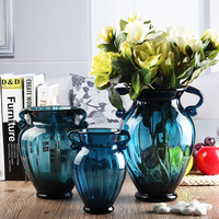 Fashion blue glass vase hydroponic dried flowers vintage dining table countertop flower basin decoration