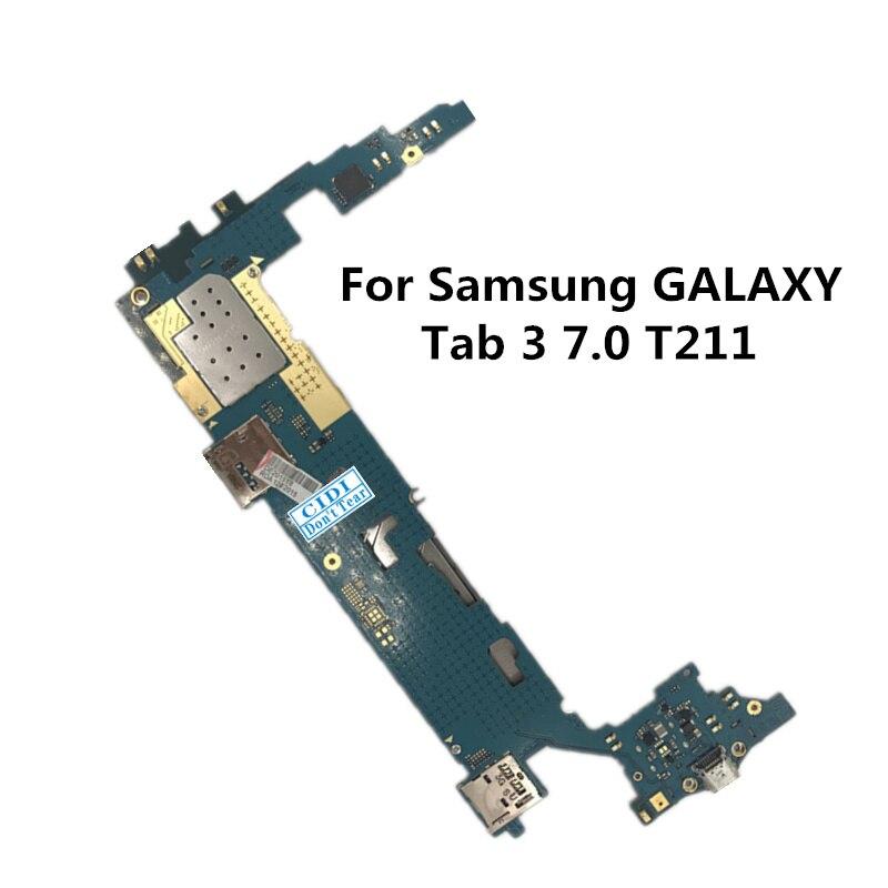 Полный рабочий оригинальный использовать платы для Samsung Galaxy Tab 3 7.0 T211 Материнские платы логика материнской плате MB пластины