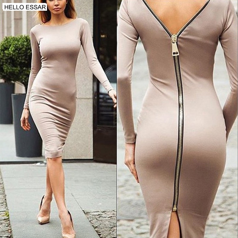 Spring new large size Bodycon dress Solid Color Round neck long sleeve Back zipper tight dress Female Fashion Clothes D1240