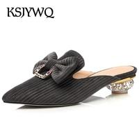 KSJYWQ 2018 Women Mules 3 6 CM Chunky Heels Summer Dress Shoes Slip On Low Heel