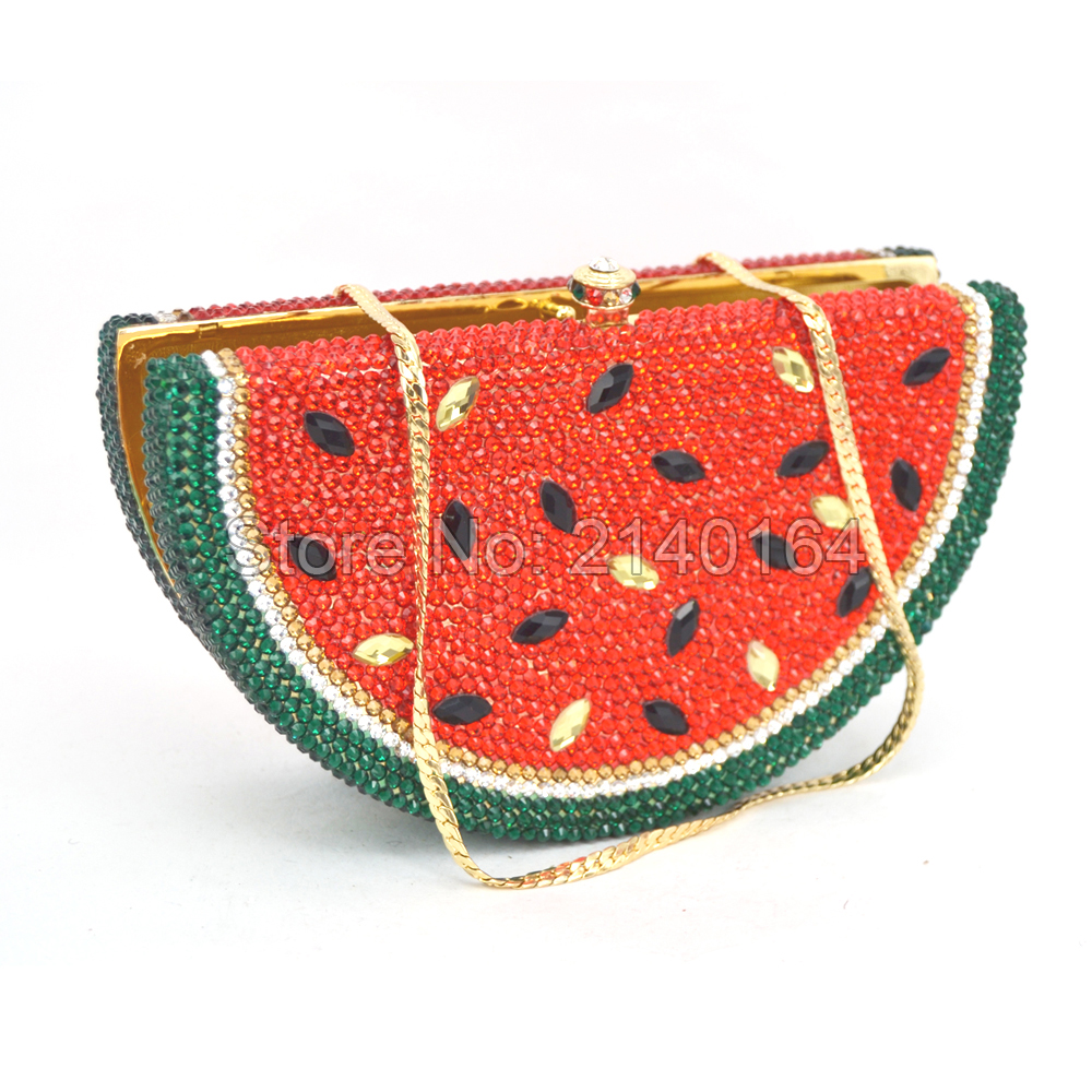 Luxury Out Crystal Evening Bag  tote Clutch Bag wedding Party Purse Wholesale Watermelon shaped bridal bag 88444Luxury Out Crystal Evening Bag  tote Clutch Bag wedding Party Purse Wholesale Watermelon shaped bridal bag 88444