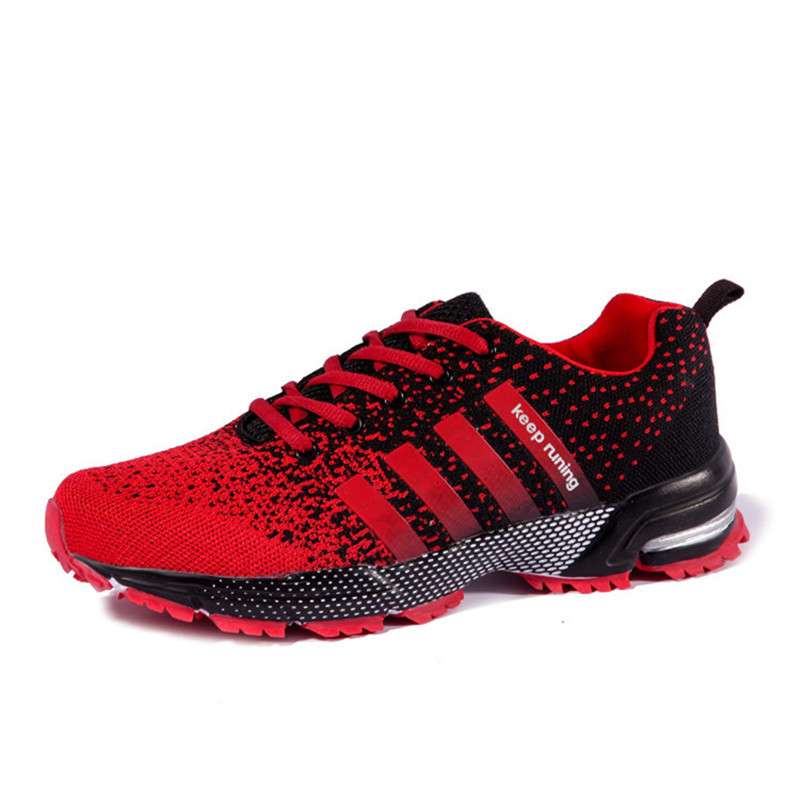 2018 Hot Sales Fashion Light Breathable Sneakers Lace-up Men  Casual Shoes Black Red Plus Size 35-46 Luxury Brand  Flat Shoes