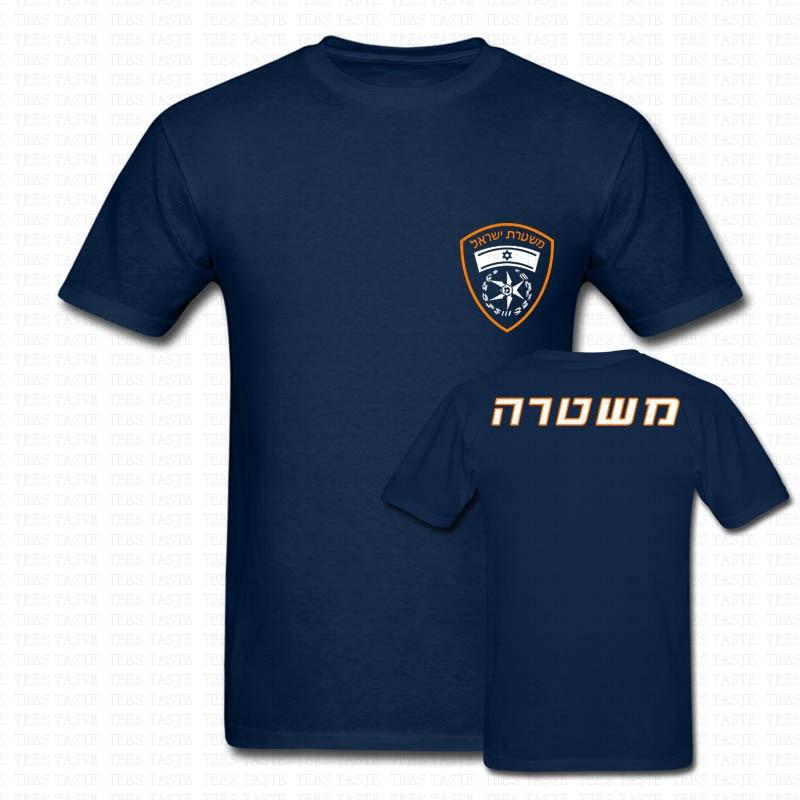 Camiseta del ejército de lucha contra el crimen del logotipo de la Policía de Israel Camiseta de algodón para hombre dos lados Camisetas cuello redondo ropa de marca