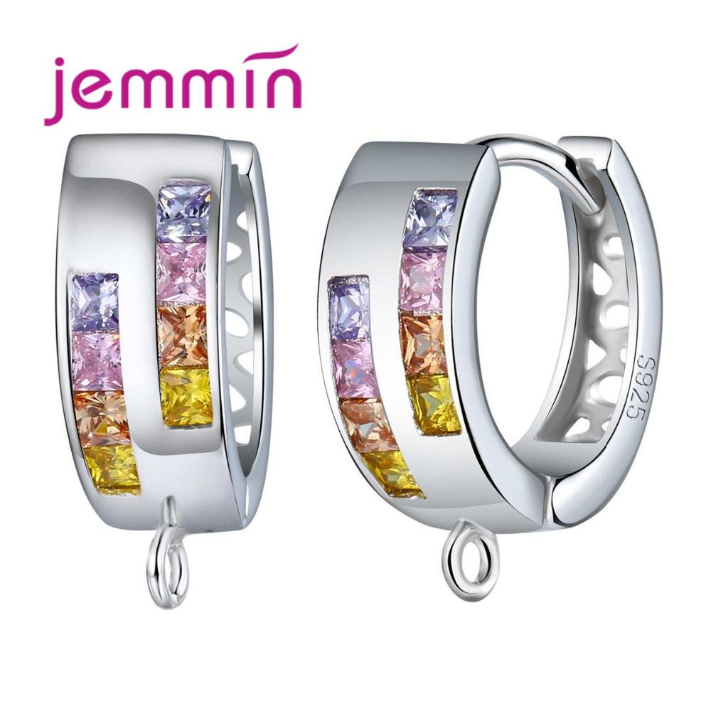 Jemmin Stylish Geometric Round 925 Sterling Silver Hoop