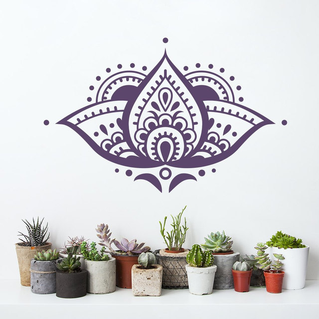 Lotus Wall Decal Removable Flower Vinyl Sticker Mandala Bedroom Yoga Studio Indian Namaste Home Decor Bohemian