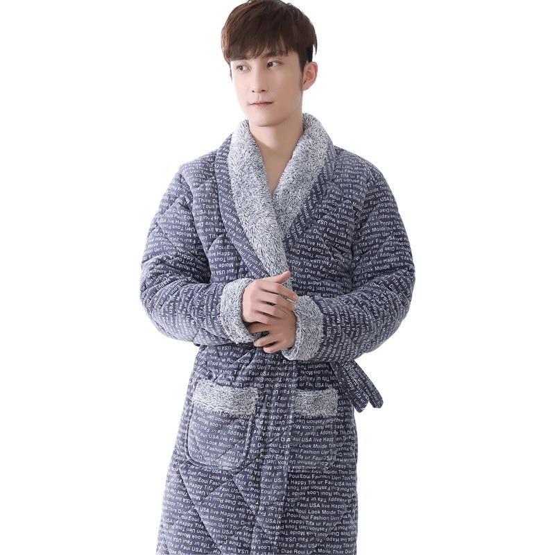 Detail Feedback Questions about Newest Winter Men s Robe Thick Flannel  Quilted Bathrobe Autumn Casual Warm Male Nightwear Men Bathrobe Belt  Elegant Bathroom ... 2c89b9aed