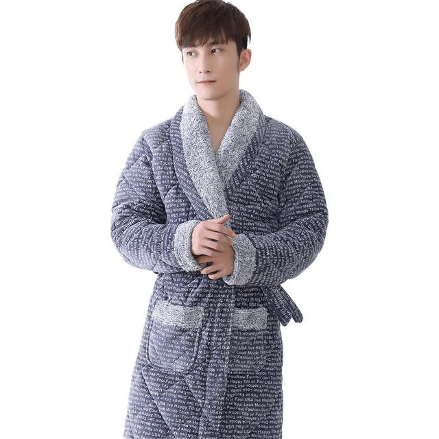 4264127833 Newest Winter Men s Robe Thick Flannel Quilted Bathrobe Autumn Casual Warm  Male Nightwear Men Bathrobe Belt Elegant Bathroom Spa
